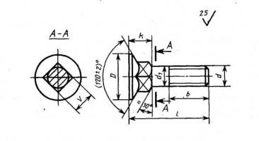 Болт лемешный с потайной головкой и квадратным подголовником ГОСТ 7786.